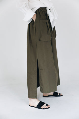 Army green long cotton skirt