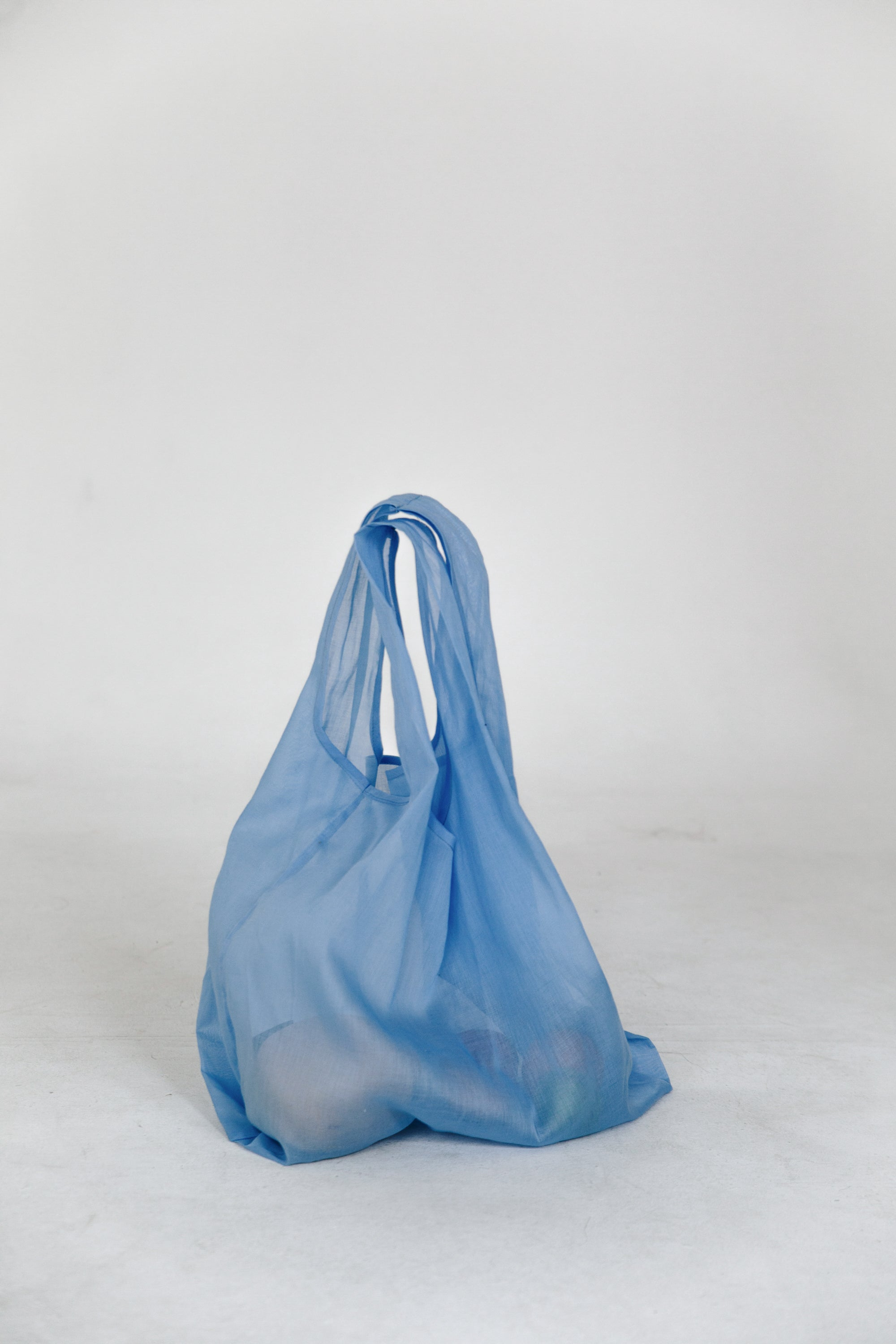 Baby blue sheer tote bag