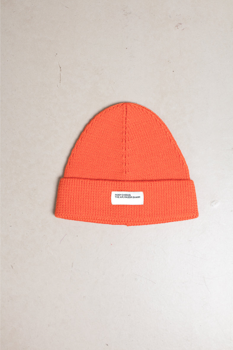 Orange merino wool hat