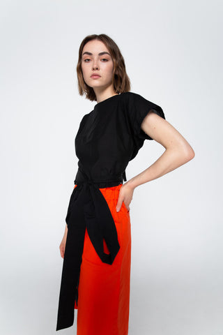 Black cotton wrap top
