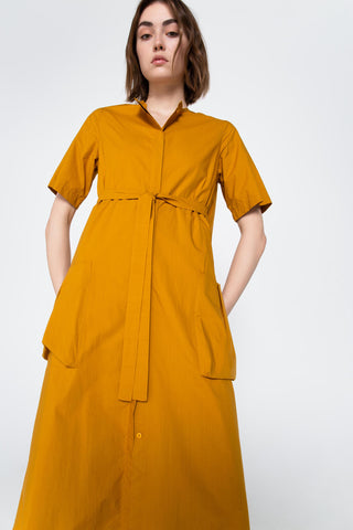 Mustard long shirt cotton dress