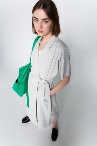 Seersucker shirt wrap dress