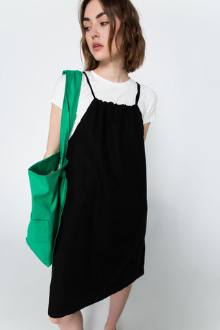 Black simple drawstring dress