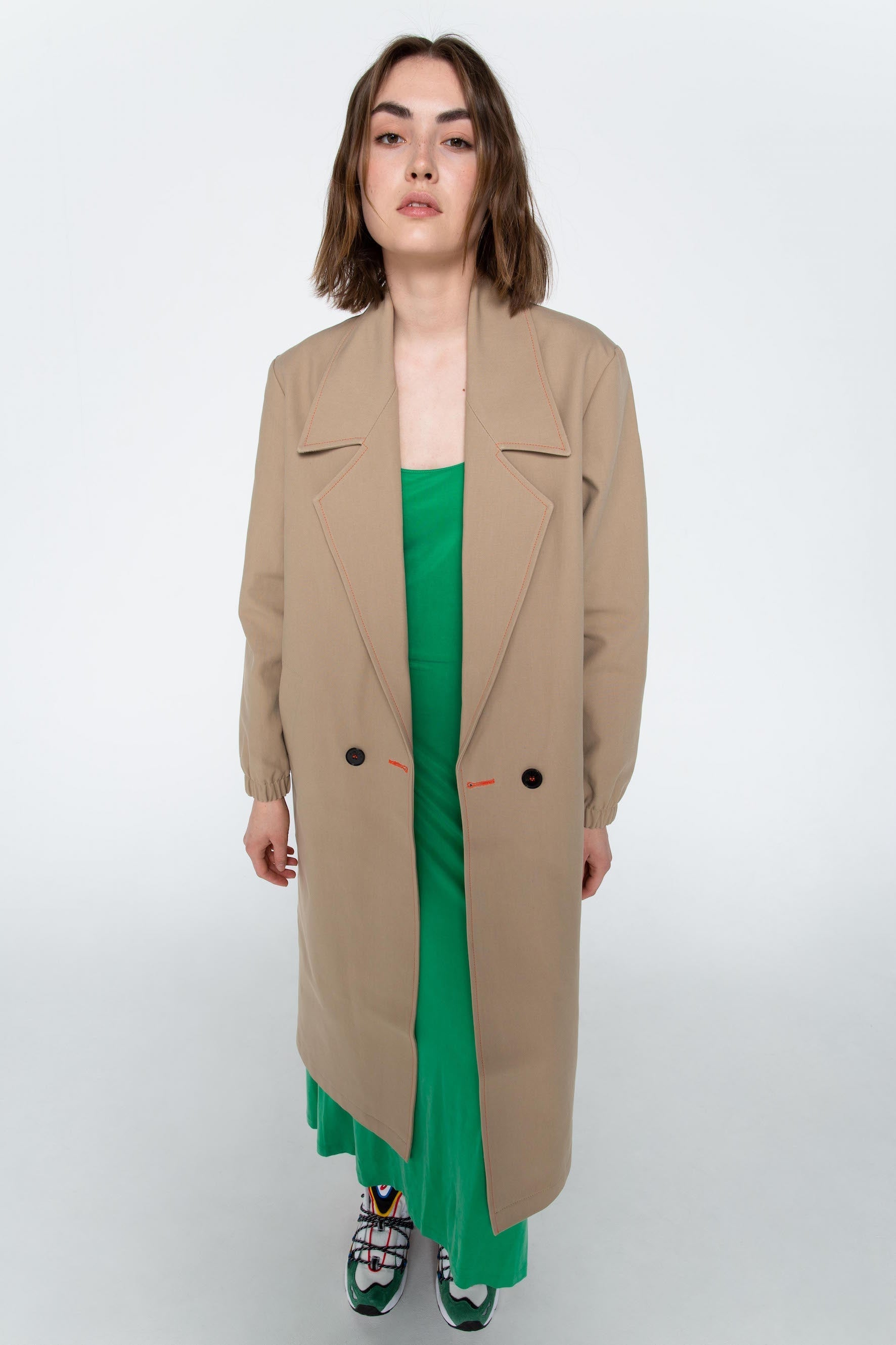 Sand trench style coat