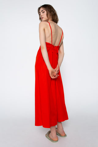 Vivid red halter dress
