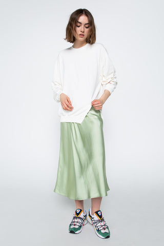 Pale green satin skirt