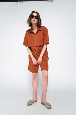 Burnt orange lyocell shorts