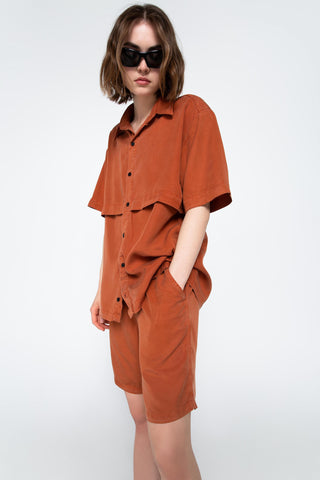 Burnt orange lyocell shirt