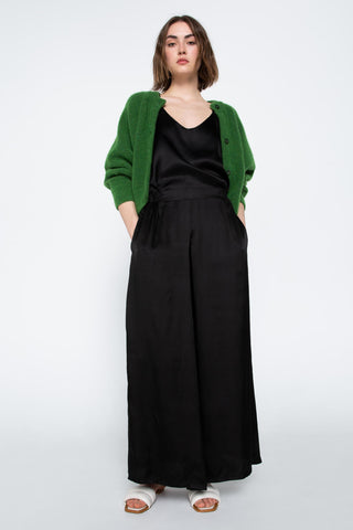 Black satin wide pants