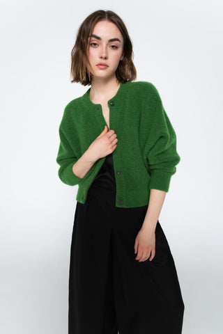 Green alpaca cardigan