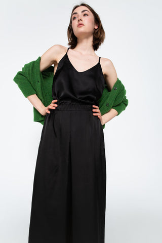 Black satin slip top
