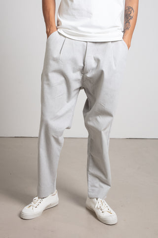 Light grey cotton twill baggy pants