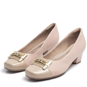 Square Toe Low Heel Pumps w/Strap in Rose - 320289RS