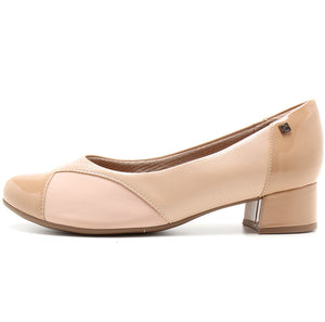 Bunion Low Heel Elastane Pumps Beige - 141086