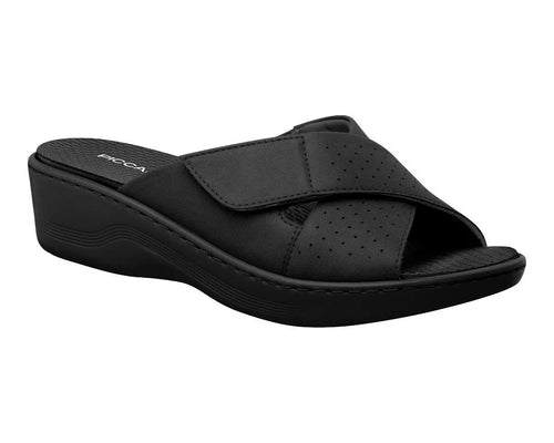 Wedge Clog with Velcro in Black  - 568014BL
