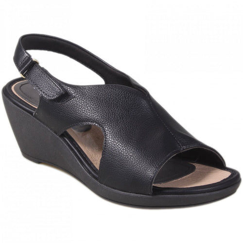 Soft Step Line Wedge Sandal with Velcro in Black - 575004BL