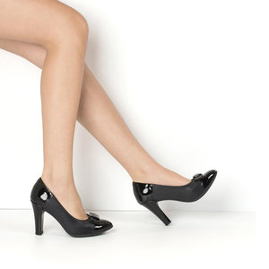 High Heel Pumps Black with Bow - 695004BL