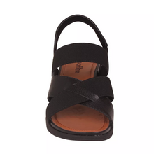Load image into Gallery viewer, Leather/Elastic Sandal in Black - AA3005