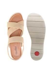 Leather/Elastic Sandal in Blush - AA3005BLSH