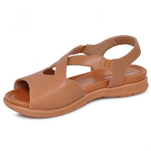Leather Sandal in Camel - AA3007