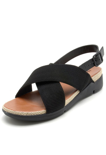 Leather and Cross Strap Sandal in Black - AA3207