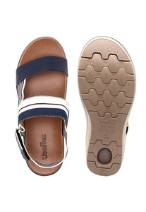 Leather and Grosgrain Sandal in Blue - AA5707BL