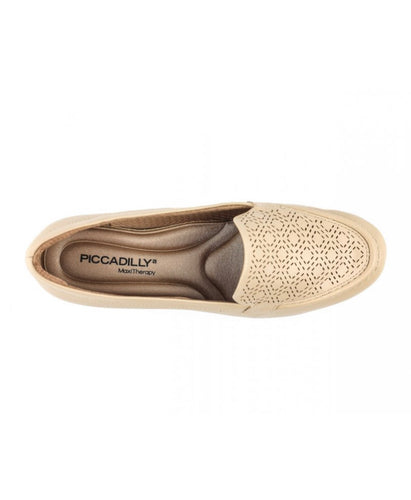 Anabela Moccasin Inlaid Design  in Brown- 117039