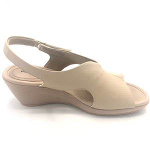Soft Step Line Wedge Sandal with Velcro in Tan   - 575004TN