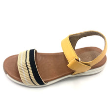 Load image into Gallery viewer, Apricot Leather w/black&beige Strap Sandal  - AB8903