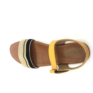 Apricot Leather w/black&beige Strap Sandal  - AB8903