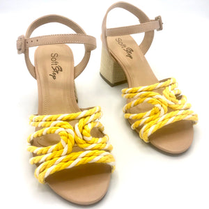 Handmade Rope Sandals in White/Yellow and Leather- 500101