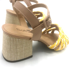 Load image into Gallery viewer, Handmade Rope Sandals in White/Yellow and Leather- 500101