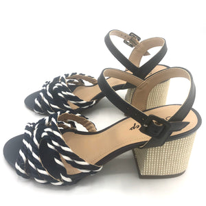 Handmade Rope Sandals in White/Navy and Leather- 500101