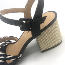 Load image into Gallery viewer, Handmade Rope Sandals in White/Navy and Leather- 500101