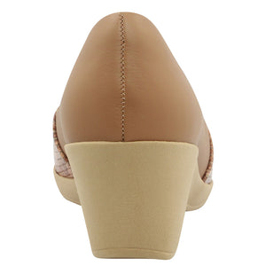 Leather Casual Peep Toe in Camel - AC2605
