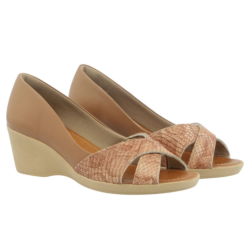 Leather Casual Peep Toe Bunion in Camel - AC2605