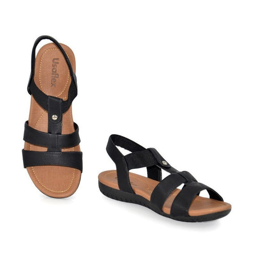 Leather Sandal in Black - R1834