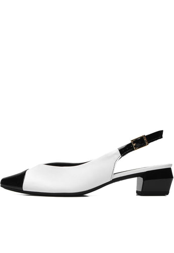 Leather Comfy Sole Slingback black and white - AC3507
