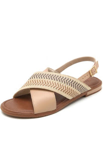 Leather and Cross Strap Sandal in Blush - AA2207BLSH