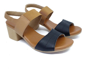 Low heel Sandal w/Strap in Black/Tan - AB6101