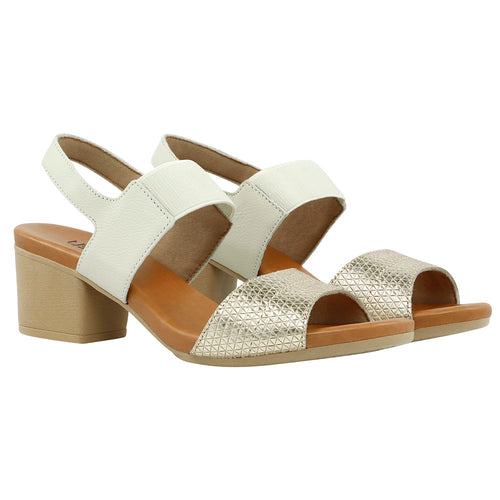 Low heel Sandal w/Strap in gold/white - AB6101