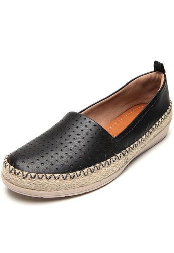 Espadrille leather Tennis Shoes in Black  - AC3006