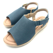Load image into Gallery viewer, Leather Sandal in Blue w/Velcro 41012