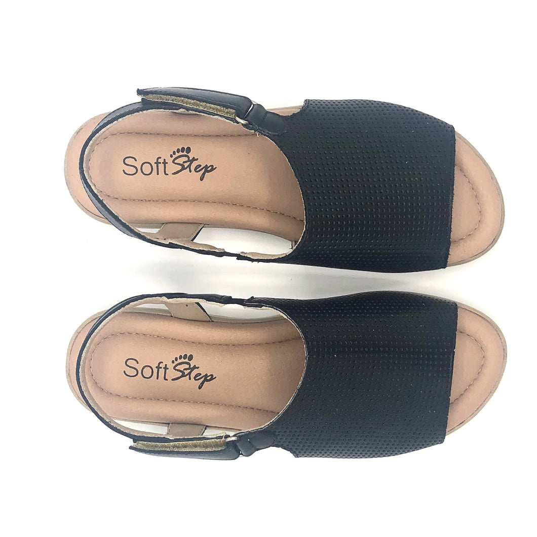 Leather Sandal in Black w/Velcro 41012