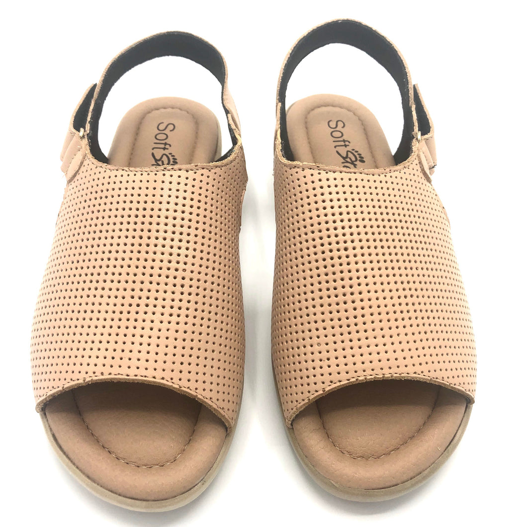 Leather Sandal in Camel w/Velcro 41012