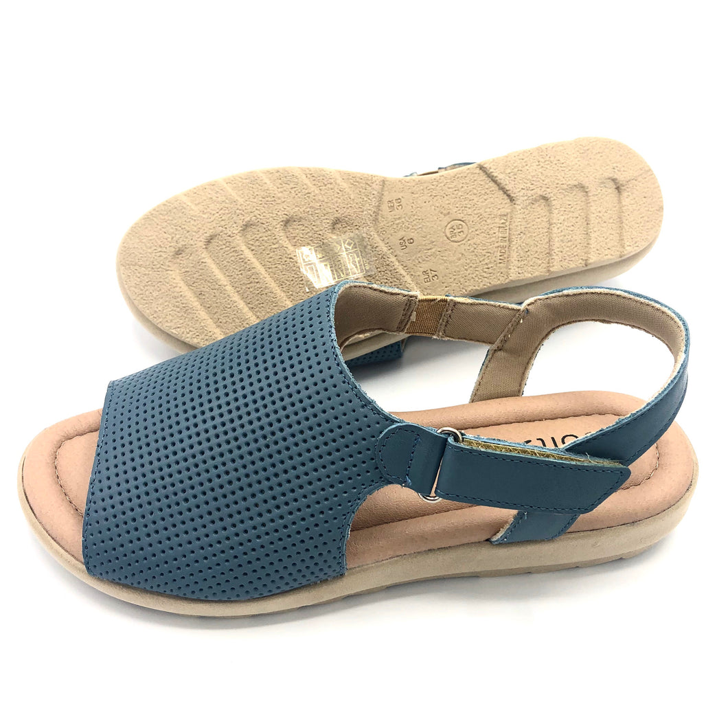 Leather Sandal in Blue w/Velcro 41012