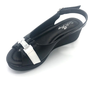 Low Wedge Sandal in Black and White - 41507