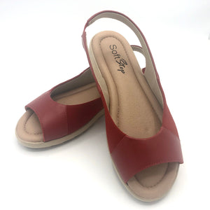 Super Soft insole Slingback Black Sandal in red- 41013