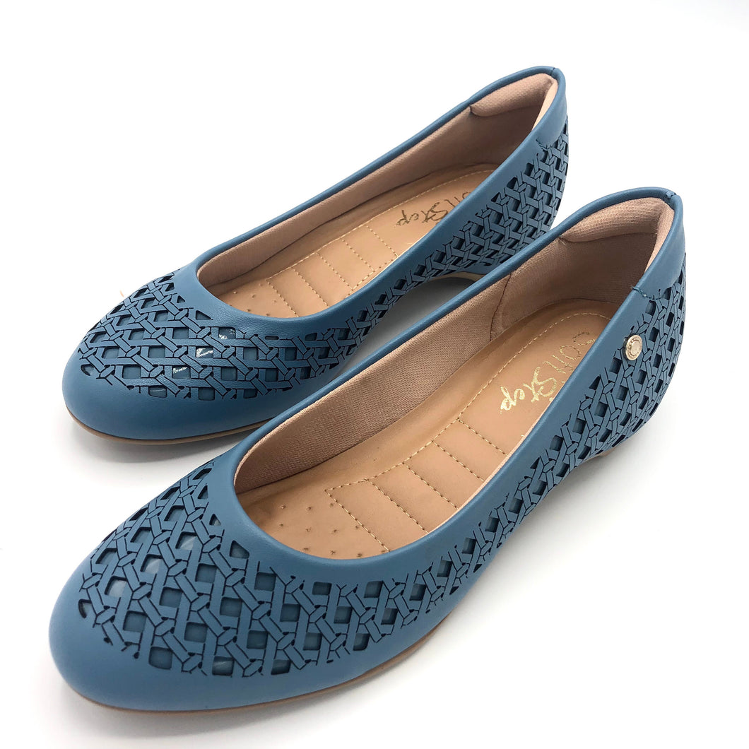 round-toe flat  in Blue-1264-038
