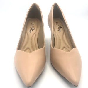 Leather Mid Heel Pumps in Beige - 70608